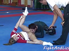 BRIANNA: Smalltits babe wrestles in a lesbian action
