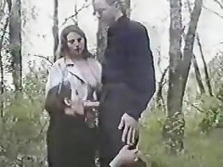 Lucky guy having fun with two girls in wood. Amateur
