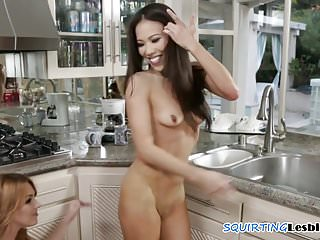 Squirting asian lesbo finger drilled babe