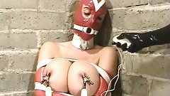 Summer Cummings - Red Latex, bondage, ring gag