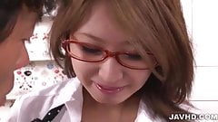 Sexy Japanese babe in glasses Mariru Amamiya creampied in