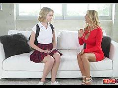 Mom Teaches bad Schoolgirl a lesson