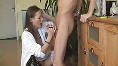 Saggy german MILF in boots deepthroat