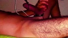 E-Stim, cockring, ball streching and cum laying in the bed