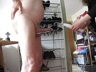 Elektrotorture on fixed cock and balls.