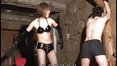 Japanese Mistress hangs wax to slave's body and enjoys