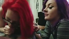 Two Emo Teens Sharing a Cock and Swallow Cum! (Great POV)