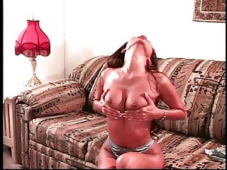 Guy sticks his cock in between girls hot tits