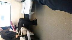 Teen in black pantyhose and flats (original)
