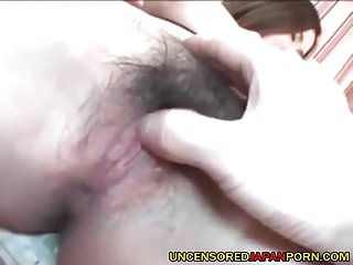 Uncensored Japanese Porn fingering hairy pussy and fucking