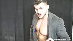 A businessman's muscle wank