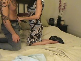 mother Gives a Handjob after Catching son