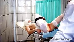 blonde on gynecological examination with a lustful gynecolog
