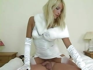 Leasbian femdom stockings - Domme in white girdle gloves and stockings