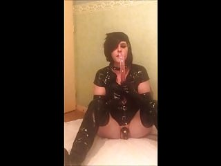 Preview 2 of SeleneTV - Goth sissy in chastity deepthroat 45cm dildo - 2