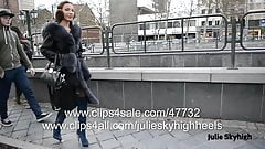 The most sexy girl in overknee boots nude under furcoat