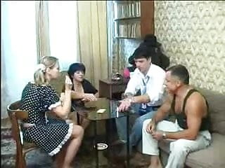 Sex vidieo game - Russian old and young couples swinger game