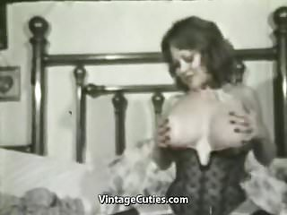 Preview 4 of Kitten Natividad Plays with Her Huge Tits (1970s Vintage)