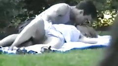 Young couple in park hidden cam