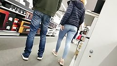 Redhead teen amazing jeans ass pantylines face ( slowm)