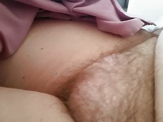 exposing her tired early morning hairy pussy pubes