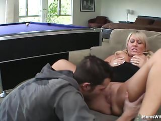 Big Tit Blonde Mom Fucked Beside Pool Table