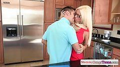 MILF Nikita Von James trio with teen couple