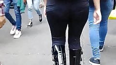 Transparent leggins girl with rich ass walking in the street