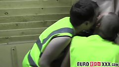 Horny young men rimming ass and blowing cock in a warehouse