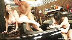Busty hotties Dava and Sara fuck the mechanics