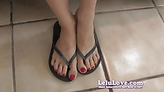 Lelu Love-Red Nails Flip Flop Feet
