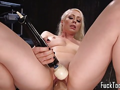 Blonde spreads legs for pussy and anal toying