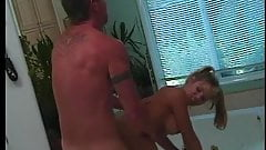Blonde in pony tales goes down on stud, sucking his broad cock then fucks