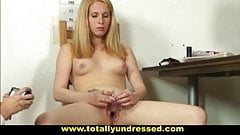 Embarassing nude job interview for 19 y.o. blonde Svetlana