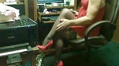 Masturbating in Red