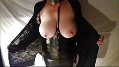 Big tit wife in bondage gear