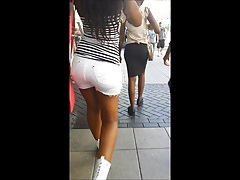 Bhambootyhunter lovely thick booty in white shorts Thumbnail