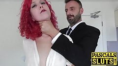 Hot redhead Charlie Ten roughly banged by fat pole Pascal