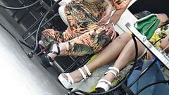 Candid 2 women in sexy high heels
