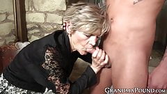 Cum eating grandma swallows stud cock passionately