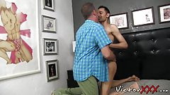 Old guy ass fucks handsome twink and makes him unload jizz