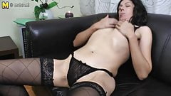 Skinny mature aunty fucks her both holes