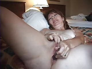 Wife Works Her Pussy And Ass With A Glass Dildo