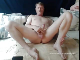 handsome daddy stroking his cock