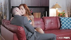 Tattooed Redhead Scarlett  Gets Fucked In Her Shaved Pussy