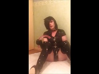 Preview 6 of SeleneTV - Goth sissy in chastity deepthroat 45cm dildo - 2