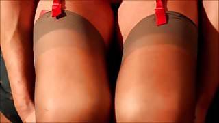 Nylons, legs & cum