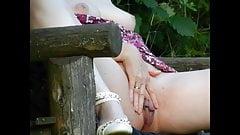 Marina Masturbating on a Forest Bench