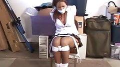 White shirt woman in garage