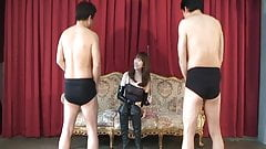 Domina to enjoy giving reward and punishment to slavery